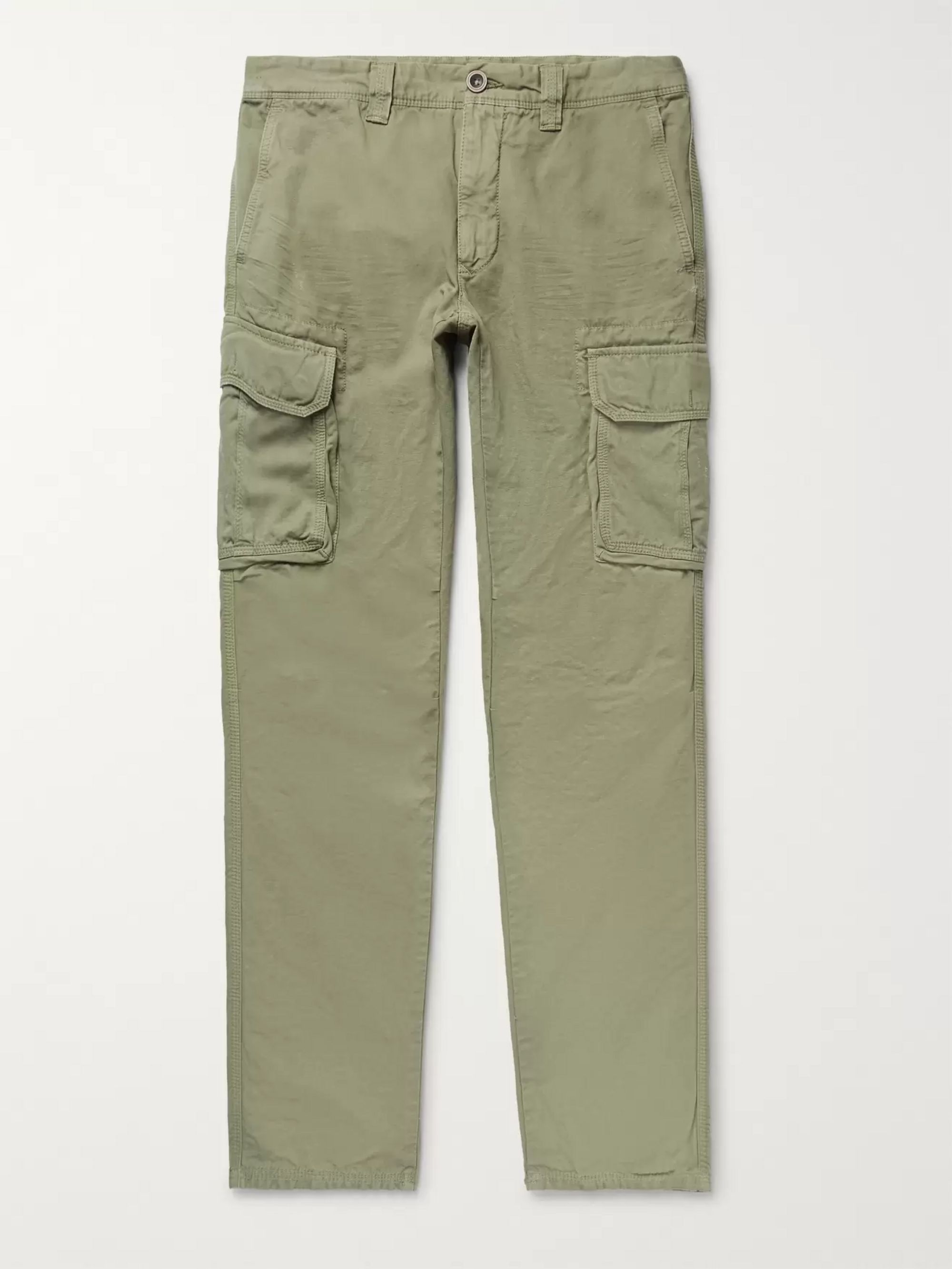 official store buy cheap custom Slim-Fit Cotton and Linen-Blend Cargo Trousers