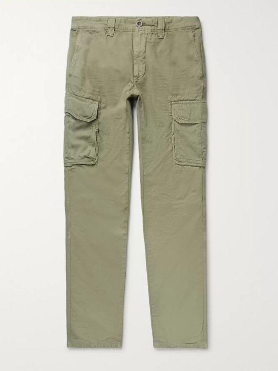Incotex Slim-Fit Cotton and Linen-Blend Cargo Trousers