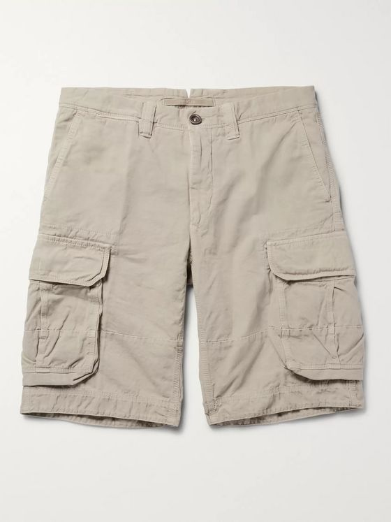 INCOTEX Washed Cotton and Linen-Blend Cargo Shorts