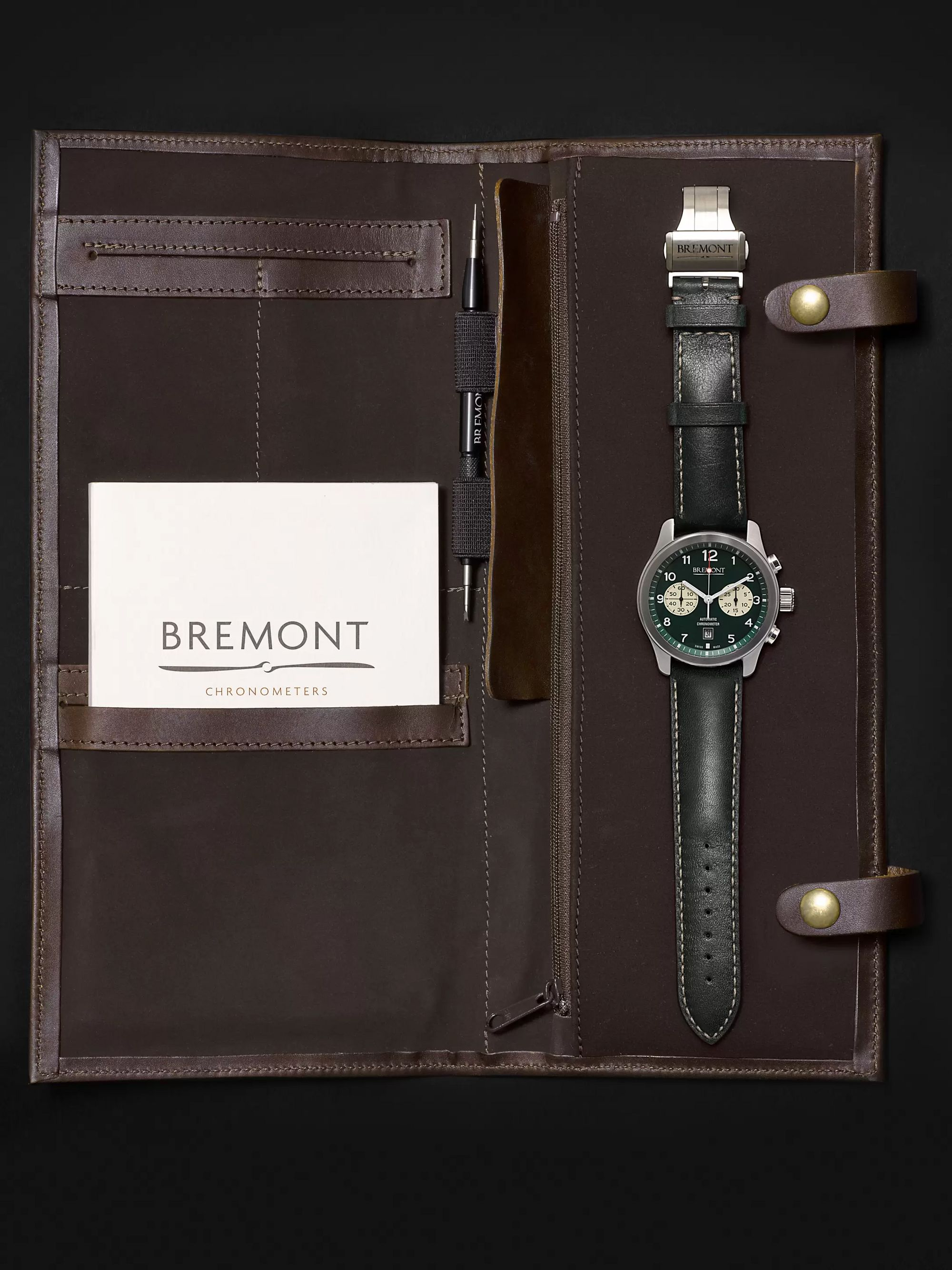 Bremont ALT1-Classic/GN Automatic Chronograph 43mm Stainless Steel and Leather Watch, Ref. No. ALT1-C/GN