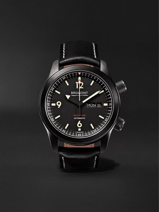 Bremont U-2/DLC Automatic 43mm Stainless Steel and Leather Watch
