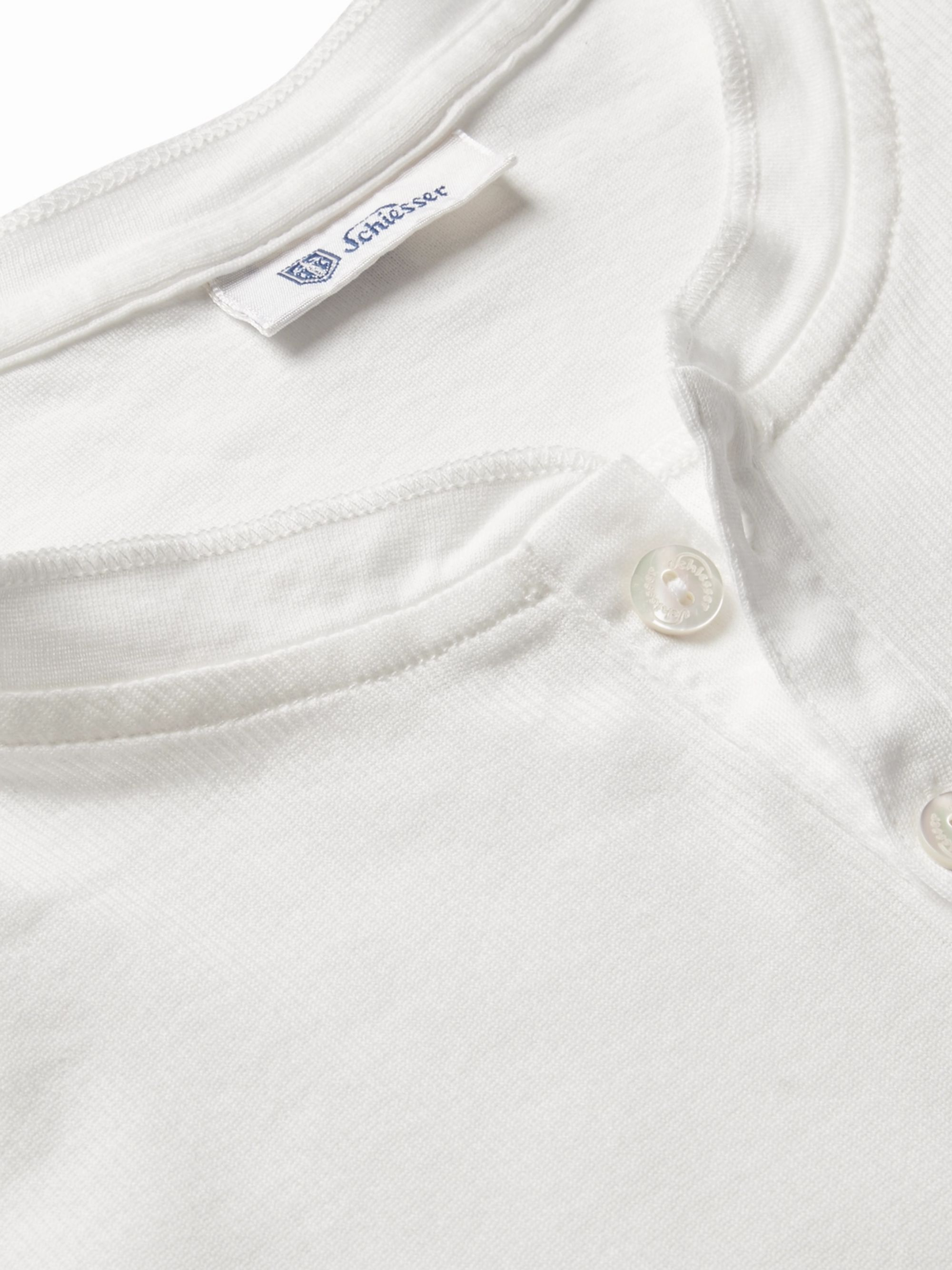 Schiesser Slim-Fit Ribbed Cotton-Jersey Henley T-Shirt
