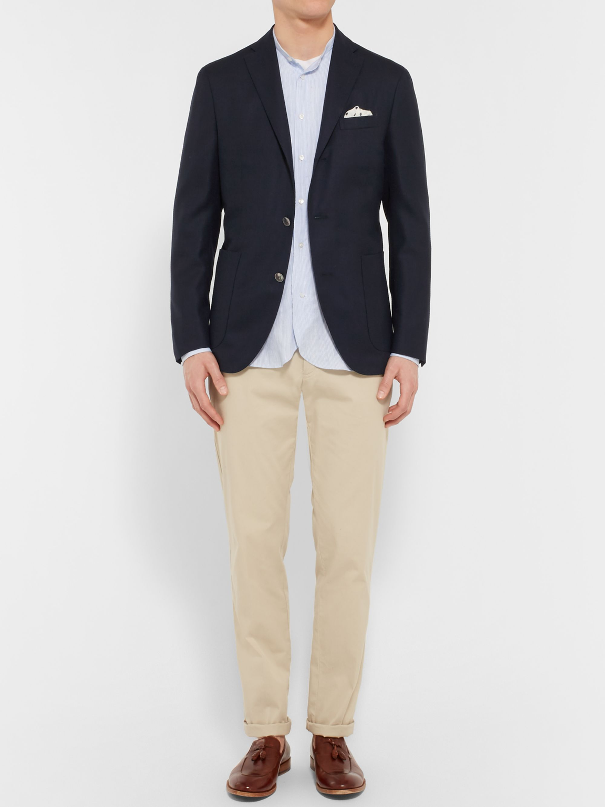 Boglioli Blue Slim-Fit Wool-Hopsack Blazer