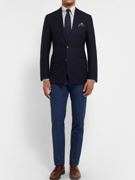 Thom Sweeney Navy Curzon Slim-Fit Wool Blazer