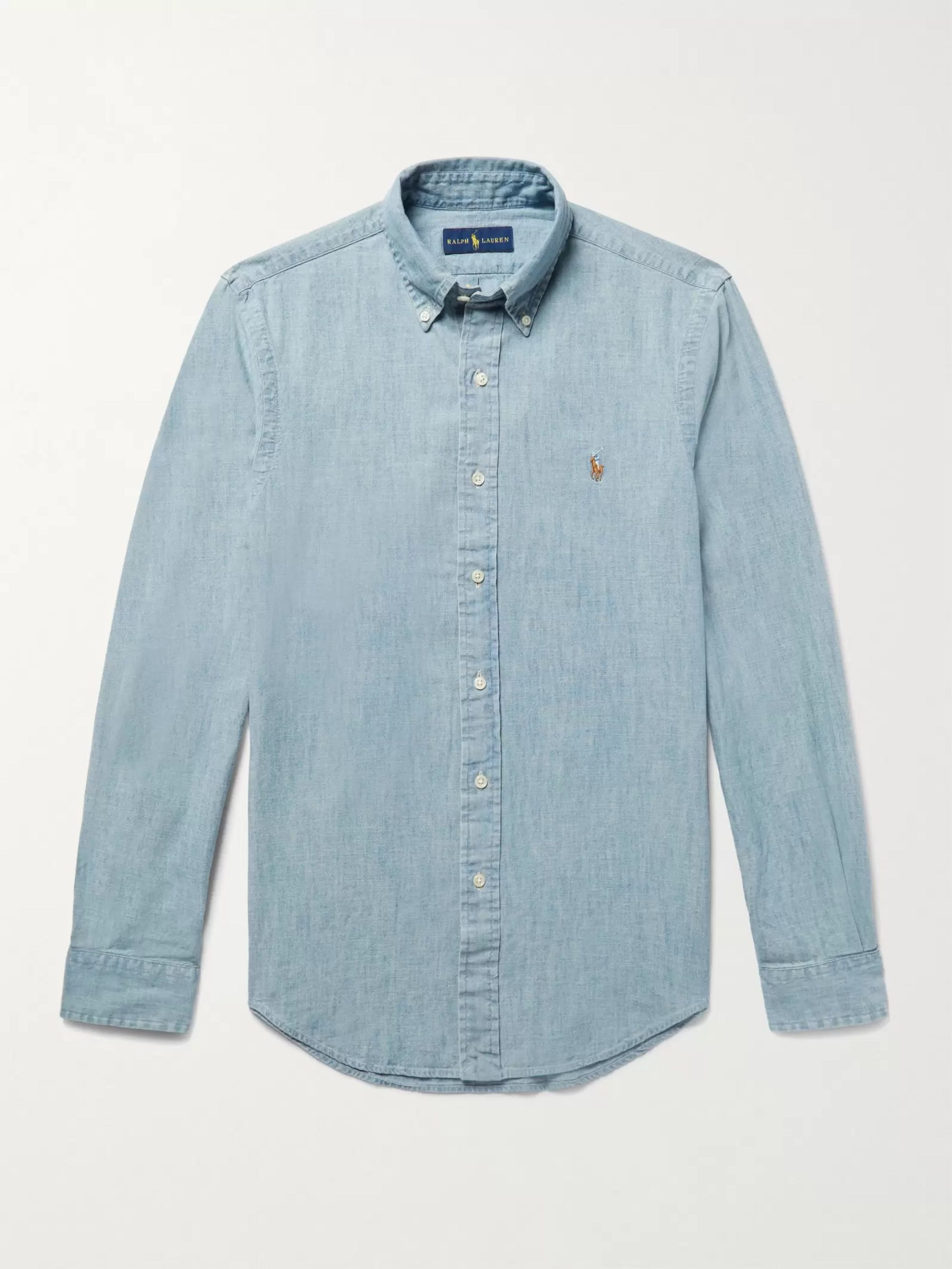 Washed Shirt Chambray Slim Fit Cotton wPkOlXTZiu
