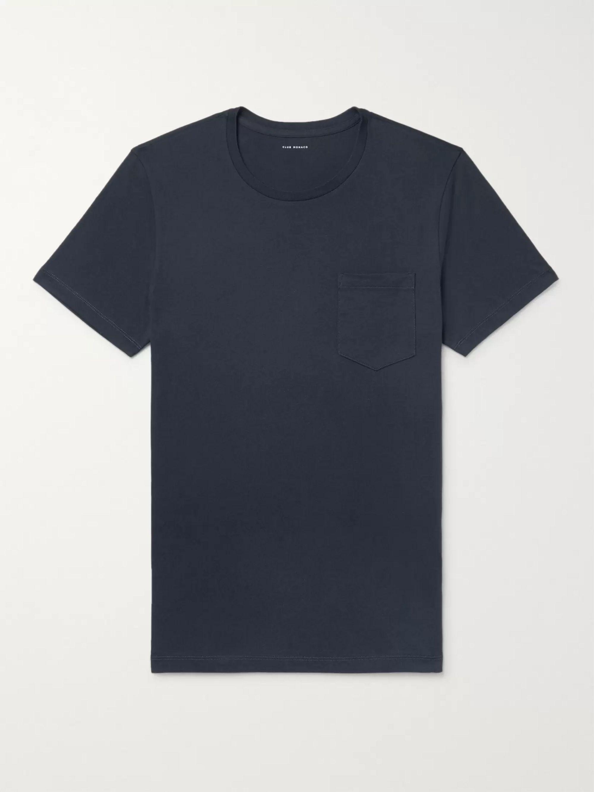 클럽 모나코 Club Monaco Williams Cotton-Jersey T-Shirt,Midnight blue