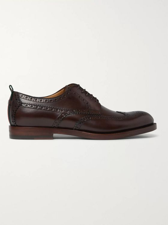 GUCCI Stripe-Trimmed Leather Wingtip Brogues