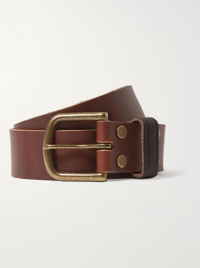 Jean Shop 4cm Brown Distressed Leather Belt