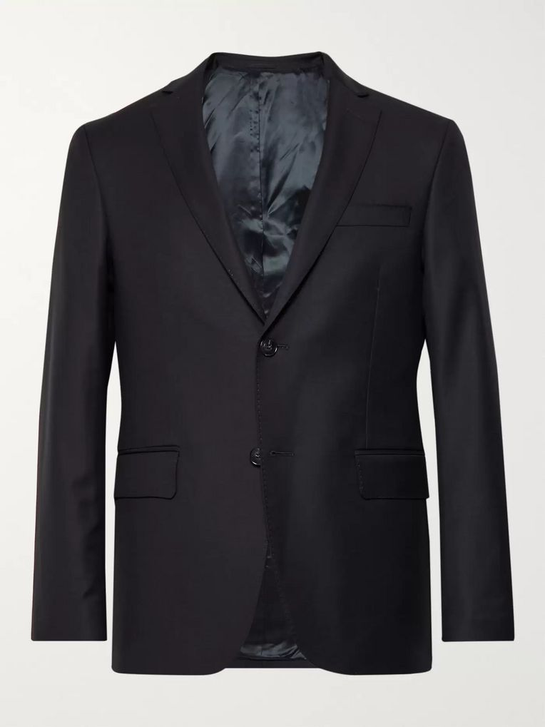 Officine Generale Blue Slim-Fit Wool Blazer