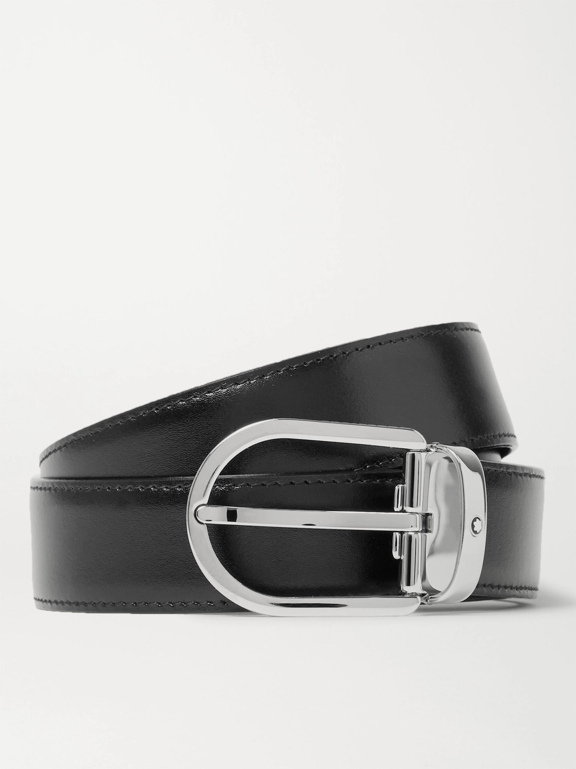 Montblanc 3cm Black Leather Belt