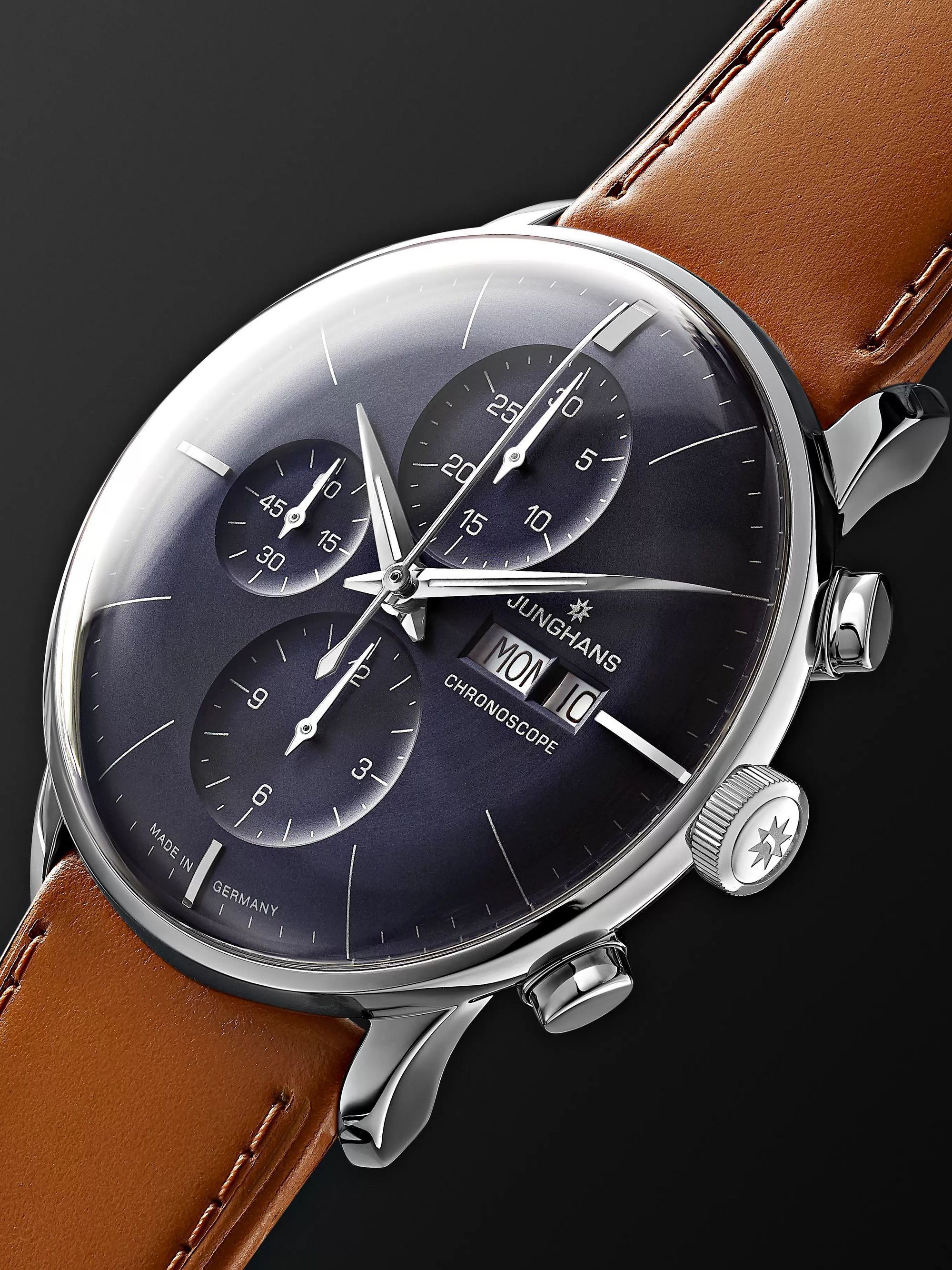 Junghans Meister Chronoscope 40mm Stainless Steel and Leather Watch, Ref. No. 027/4526.01