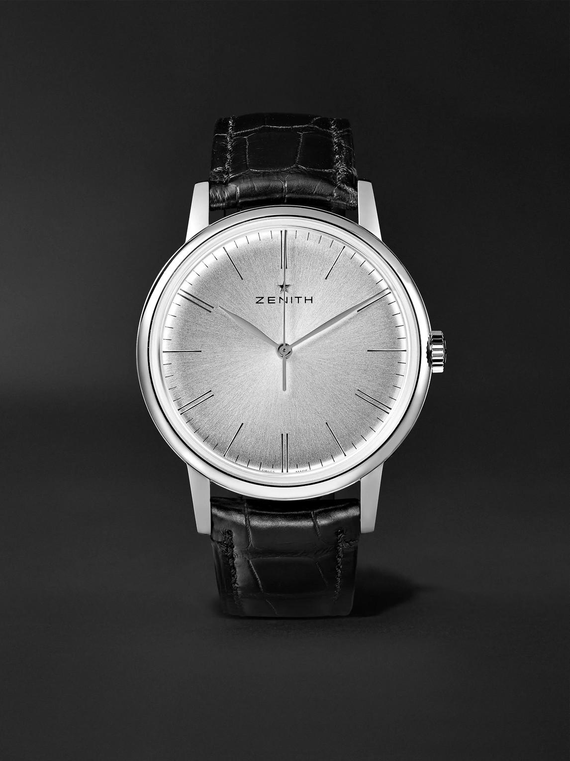 Zenith Elite 6150 42mm Stainless Steel And Alligator Watch, Ref. No. 03.2270.6150/01.c493 In Silver
