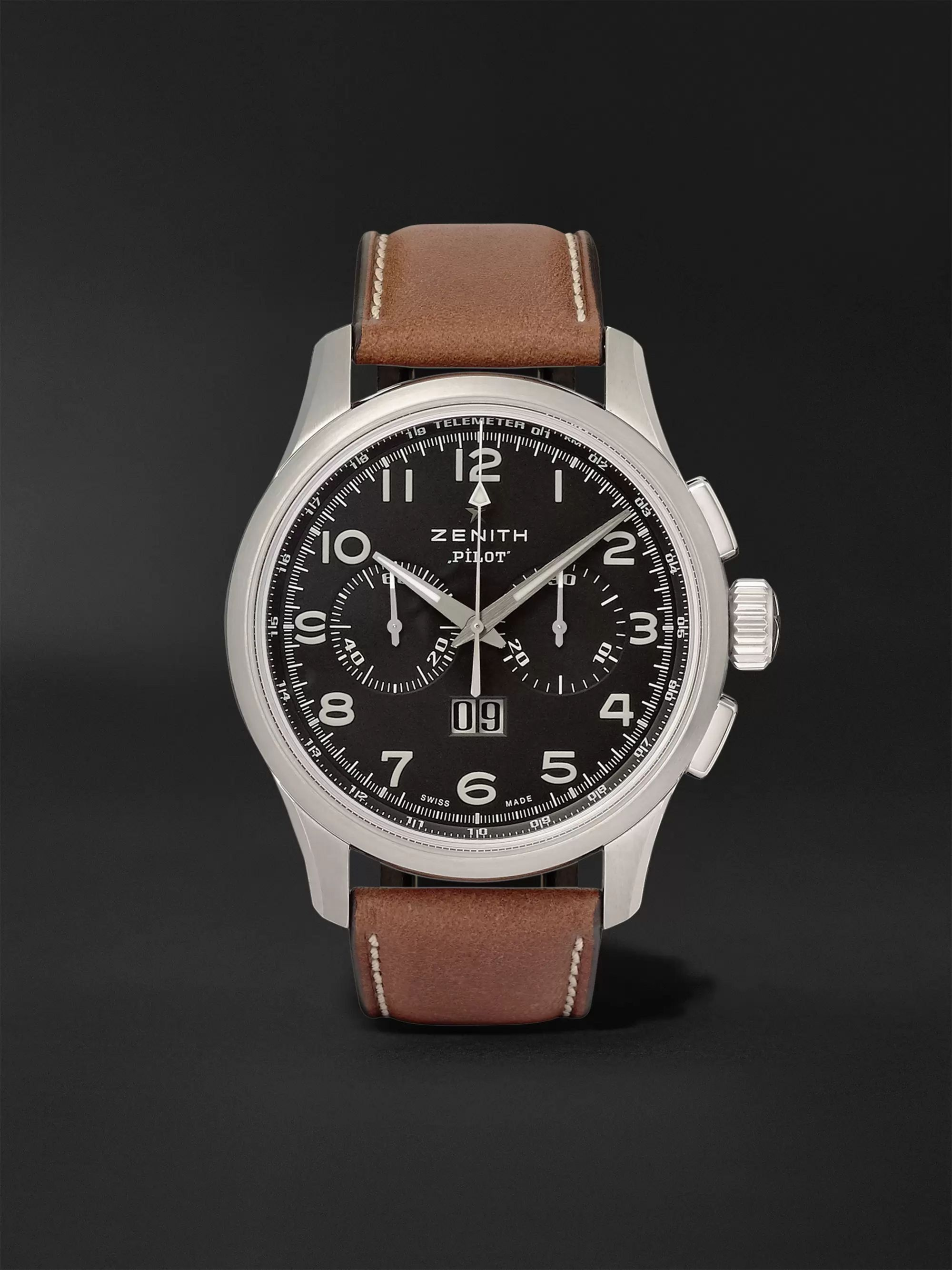 Zenith Pilot 44mm Stainless Steel and Leather Watch, Ref. No. 03.2410.4010/21.C722