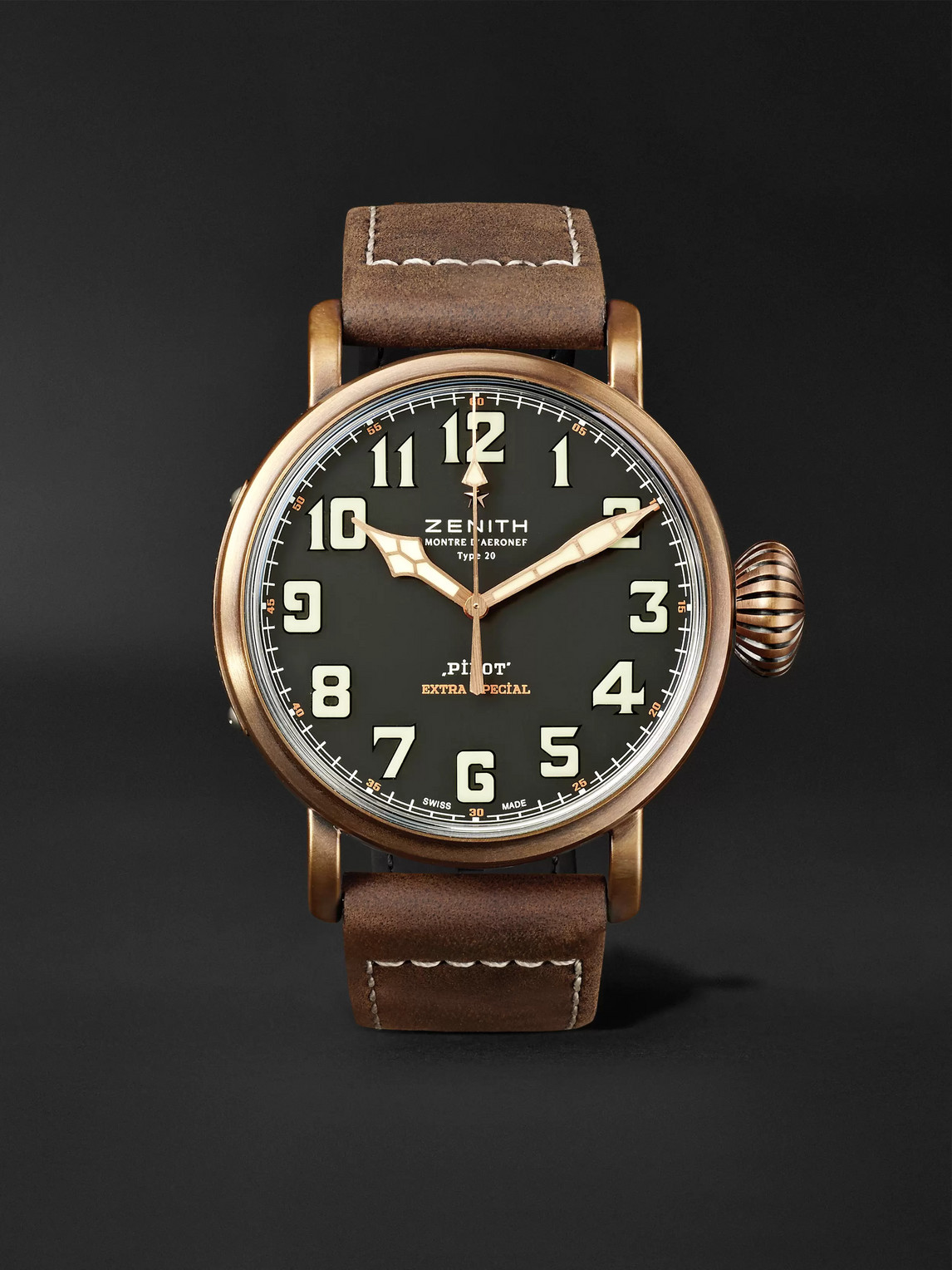 Zenith Pilot Type 20 Extra Special 45mm Bronze And Nubuck Watch, Ref. No. 29.2430.679/21.c753 In Nero