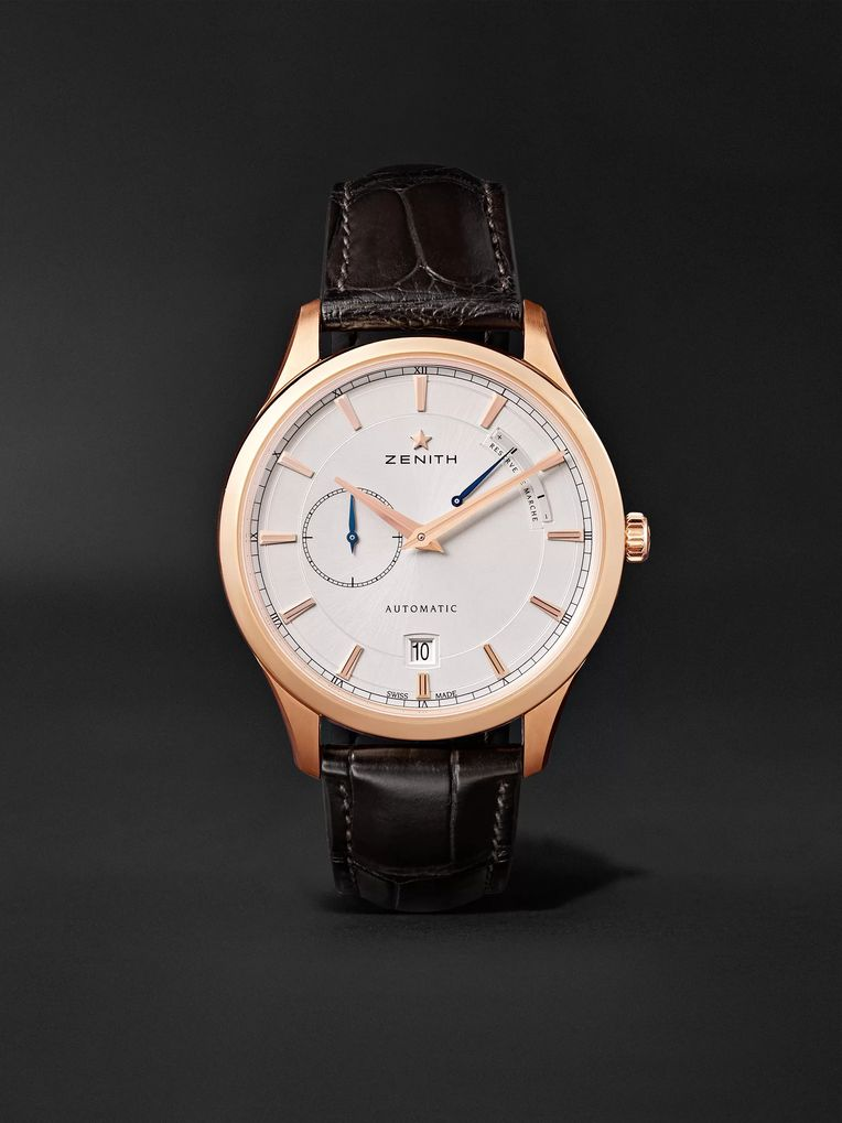 Zenith Power Reserve 40mm 18-Karat Rose Gold and Alligator Watch, Ref. No. 18.2121.685/01.C498