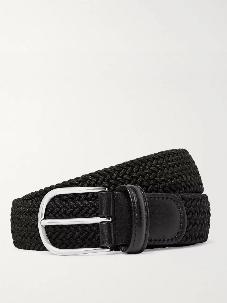Anderson's 3.5cm Black Leather-Trimmed Woven Elastic Belt