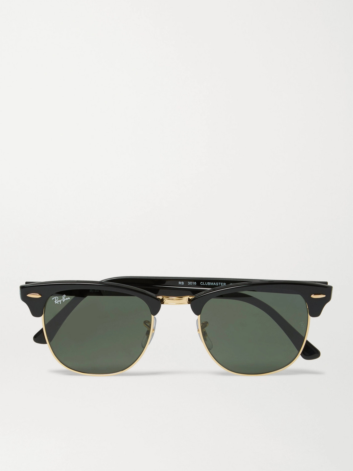 Ray Ban Sunglasses CLUBMASTER SQUARE-FRAME ACETATE AND GOLD-TONE SUNGLASSES