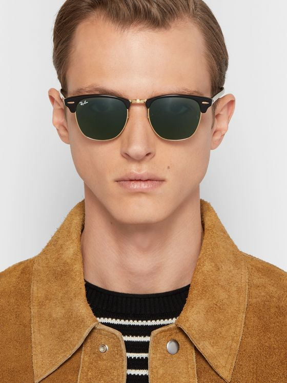 RAY-BAN Clubmaster Square-Frame Acetate and Gold-Tone Sunglasses