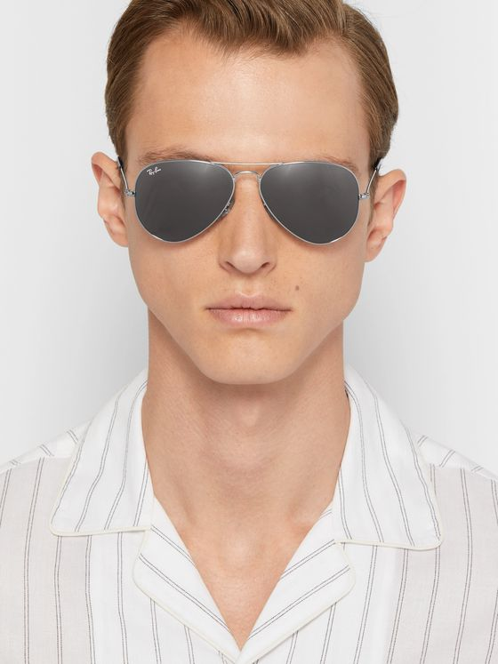 RAY-BAN Aviator Silver-Tone Sunglasses