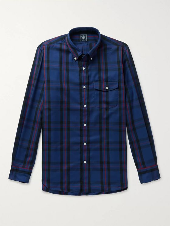 J.Press Button-Down Collar Checked Wool-Blend Shirt