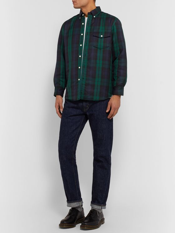 J.Press Quilted Checked Wool-Blend Overshirt
