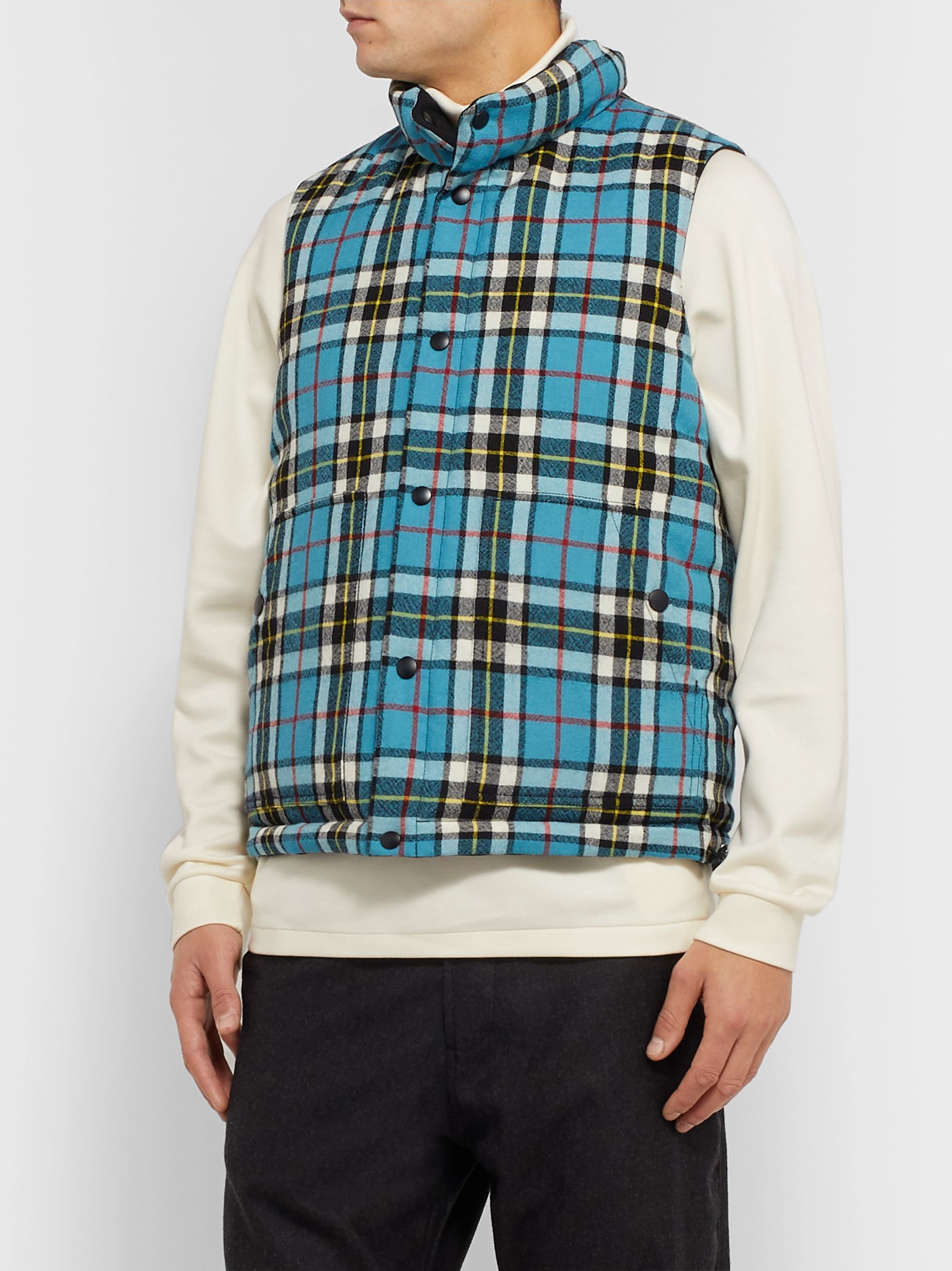 J.Press Reversible Shell and Checked Wool Down Gilet