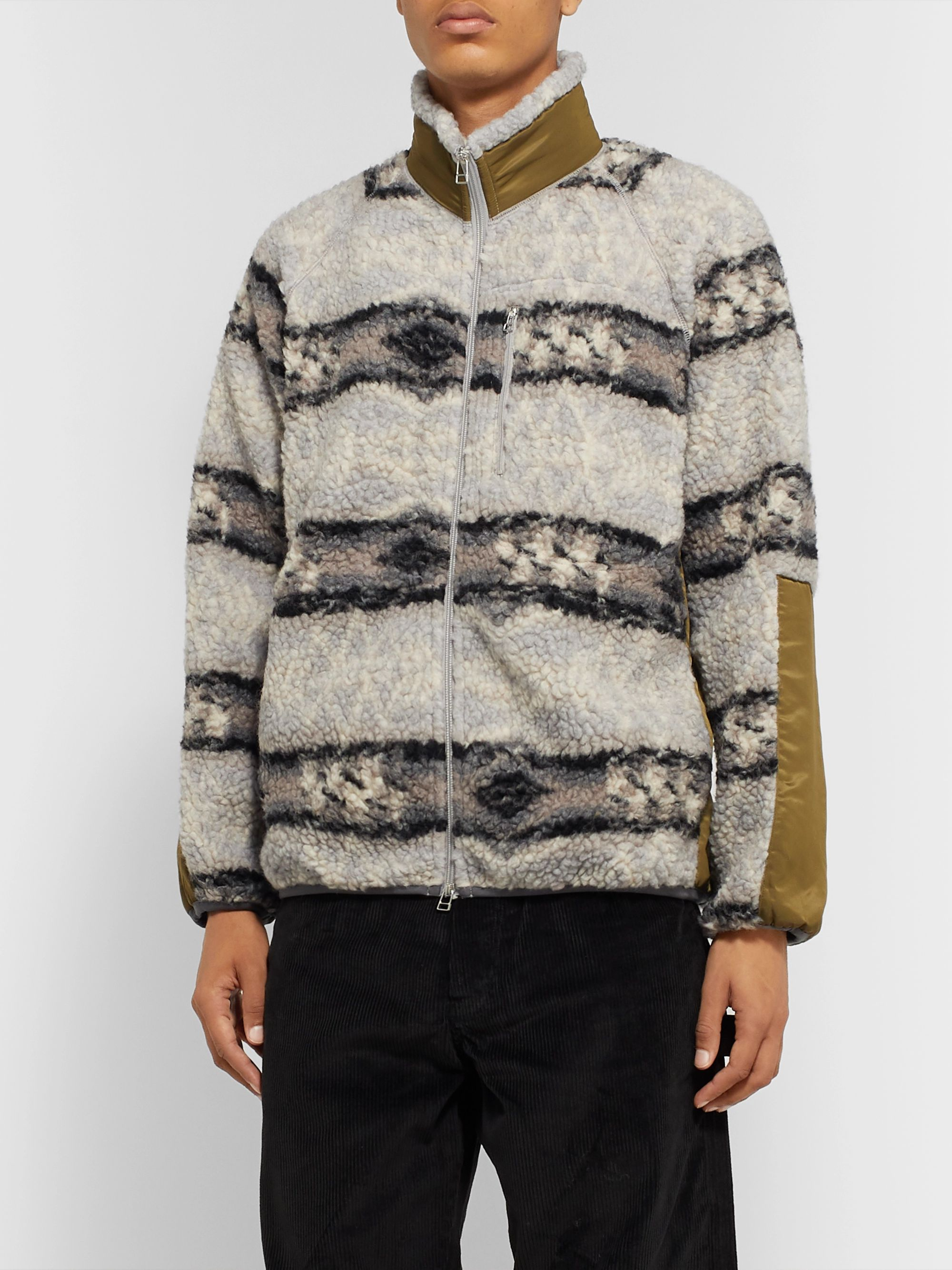J.Press Shell-Panelled Striped Wool-Blend Fleece Jacket