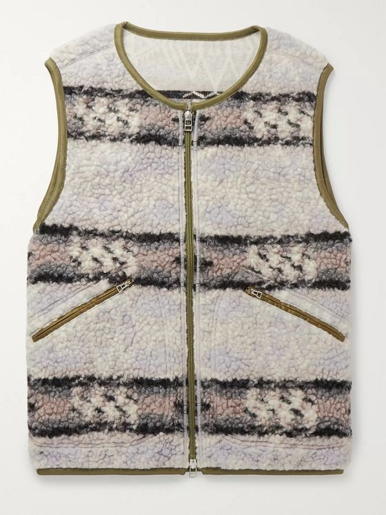 J.Press Shell-Trimmed Striped Wool-Blend Fleece Gilet