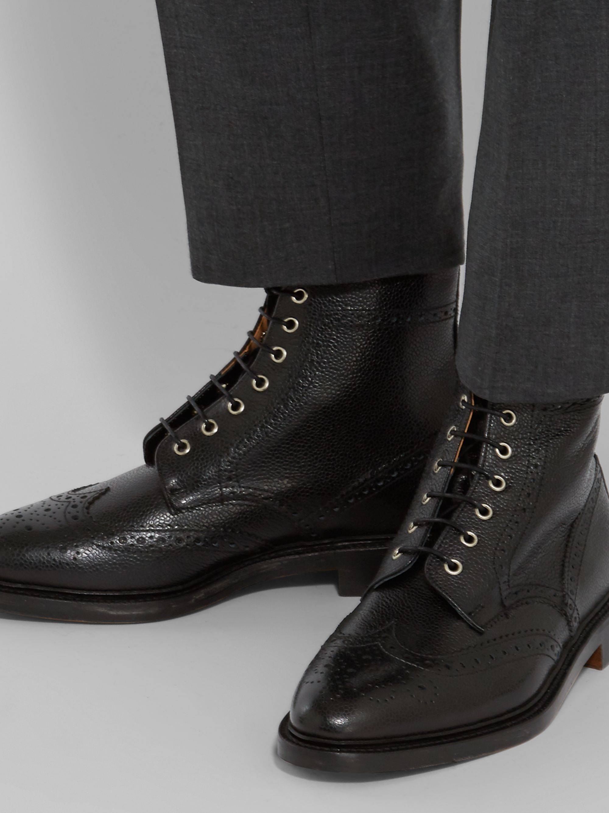 Black Leather Wingtip Brogue Boots