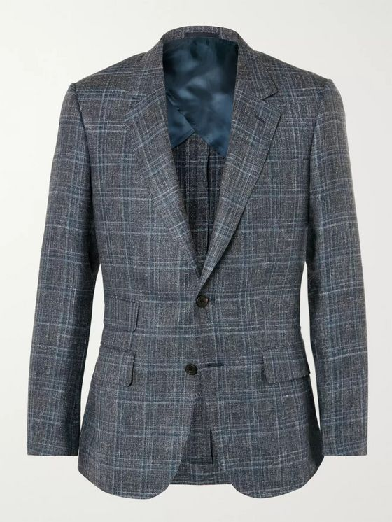Kingsman Grey Harry Slim-Fit Checked Silk, Linen and Wool-Blend Blazer