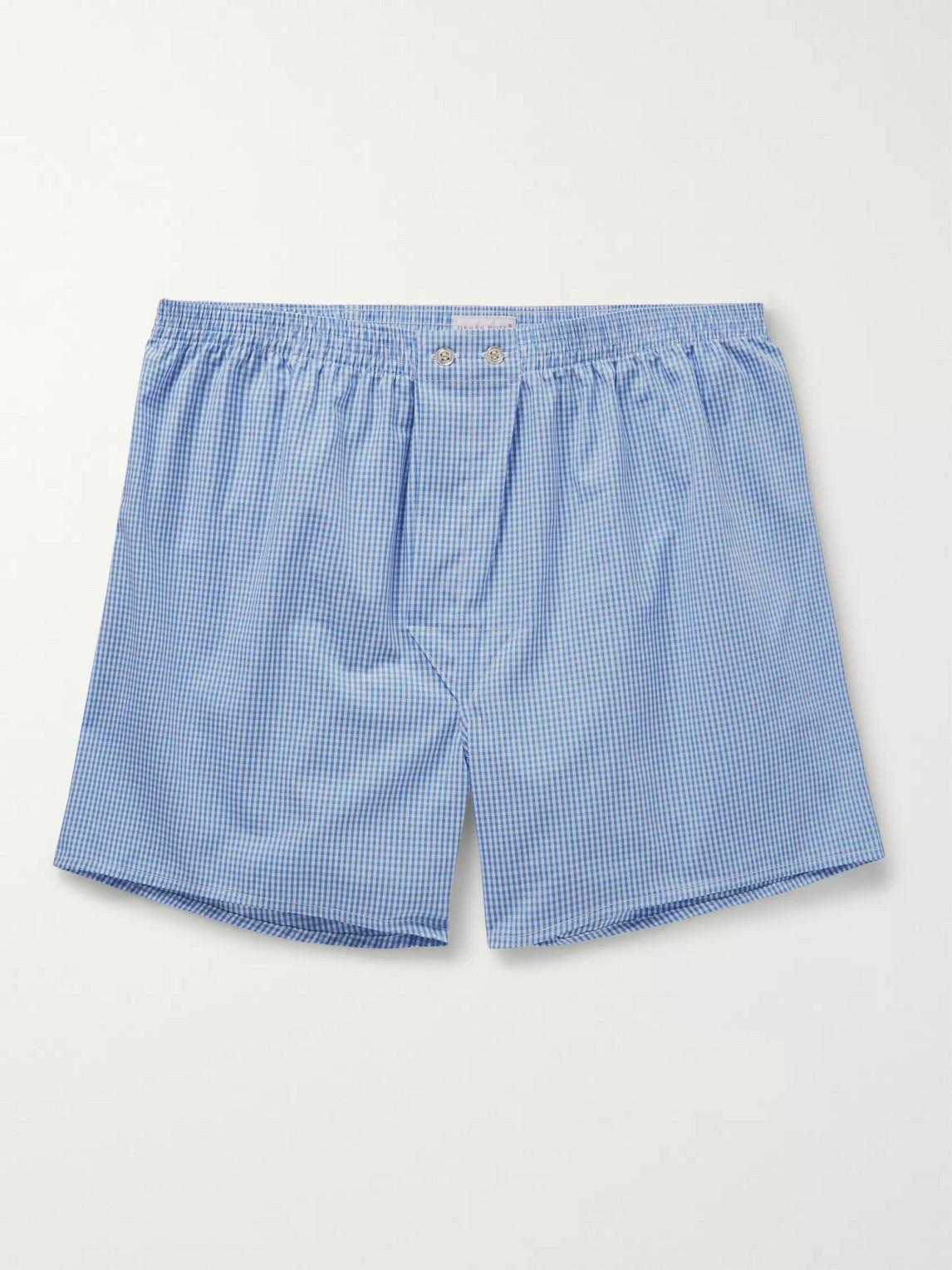 derek rose - gingham cotton boxer shorts - blue - l - men