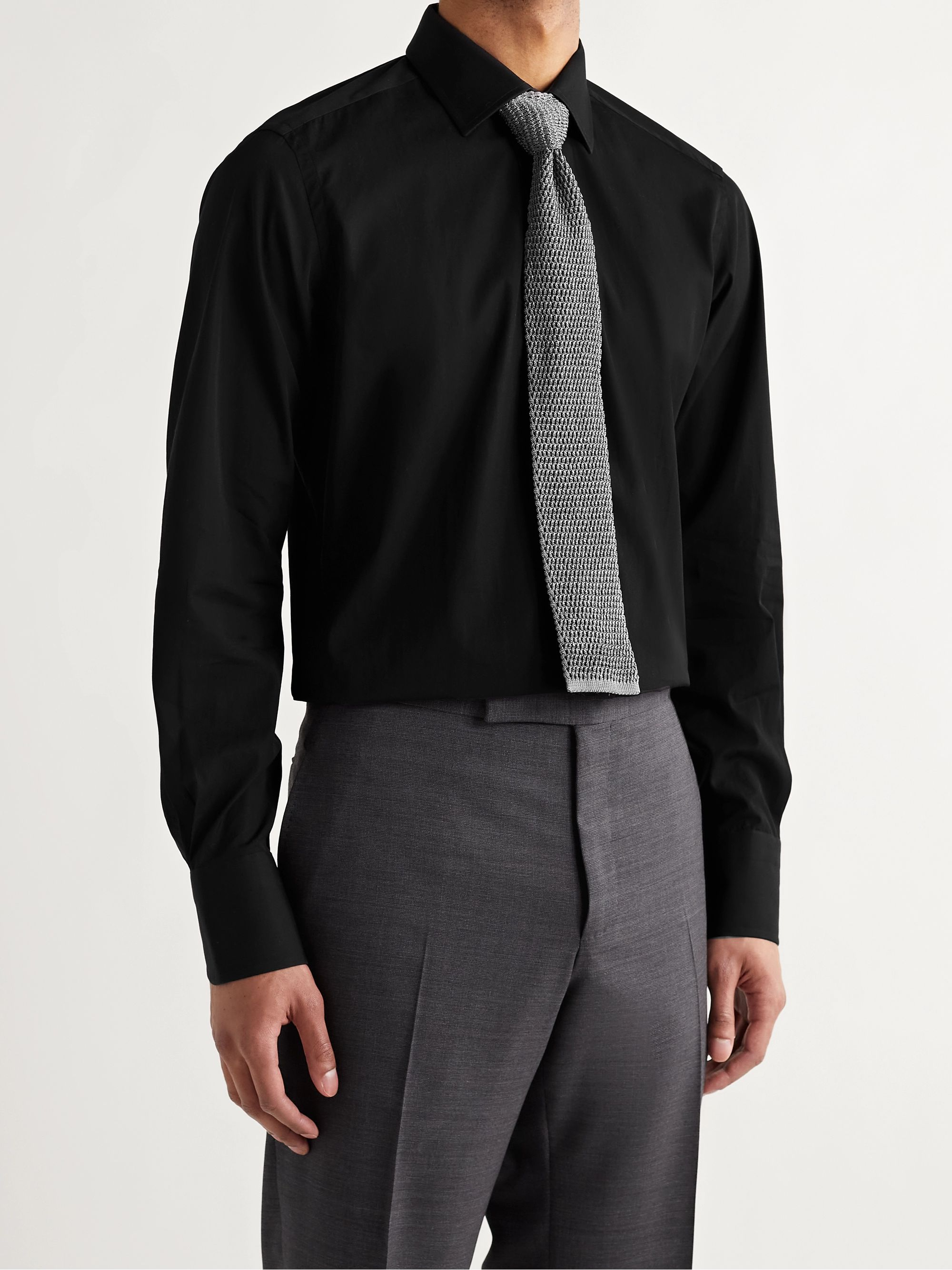 TOM FORD Black Slim-Fit Cotton-Poplin Shirt