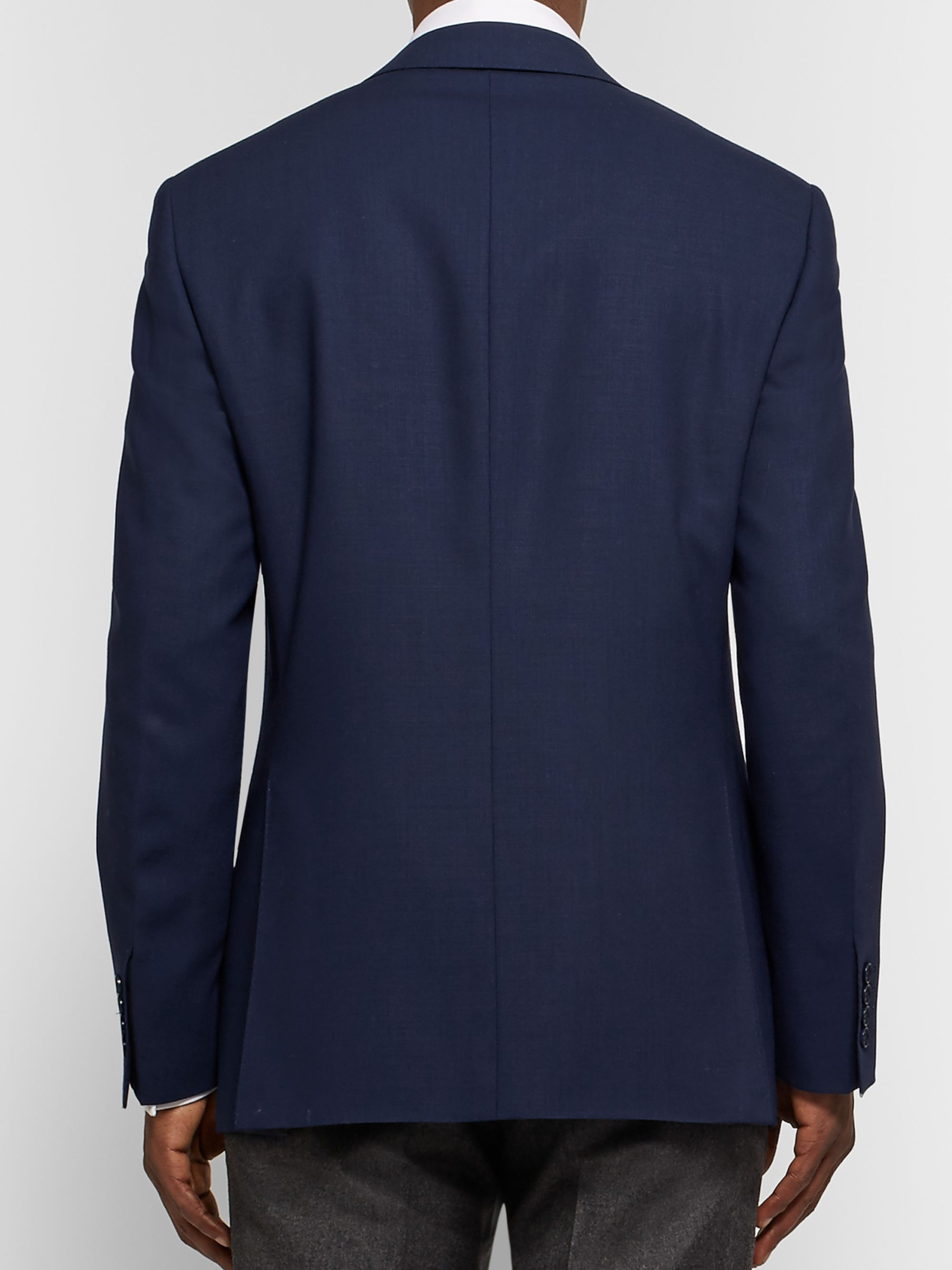 Canali Royal-Blue Slim-Fit Travel Water-Resistant Wool Blazer