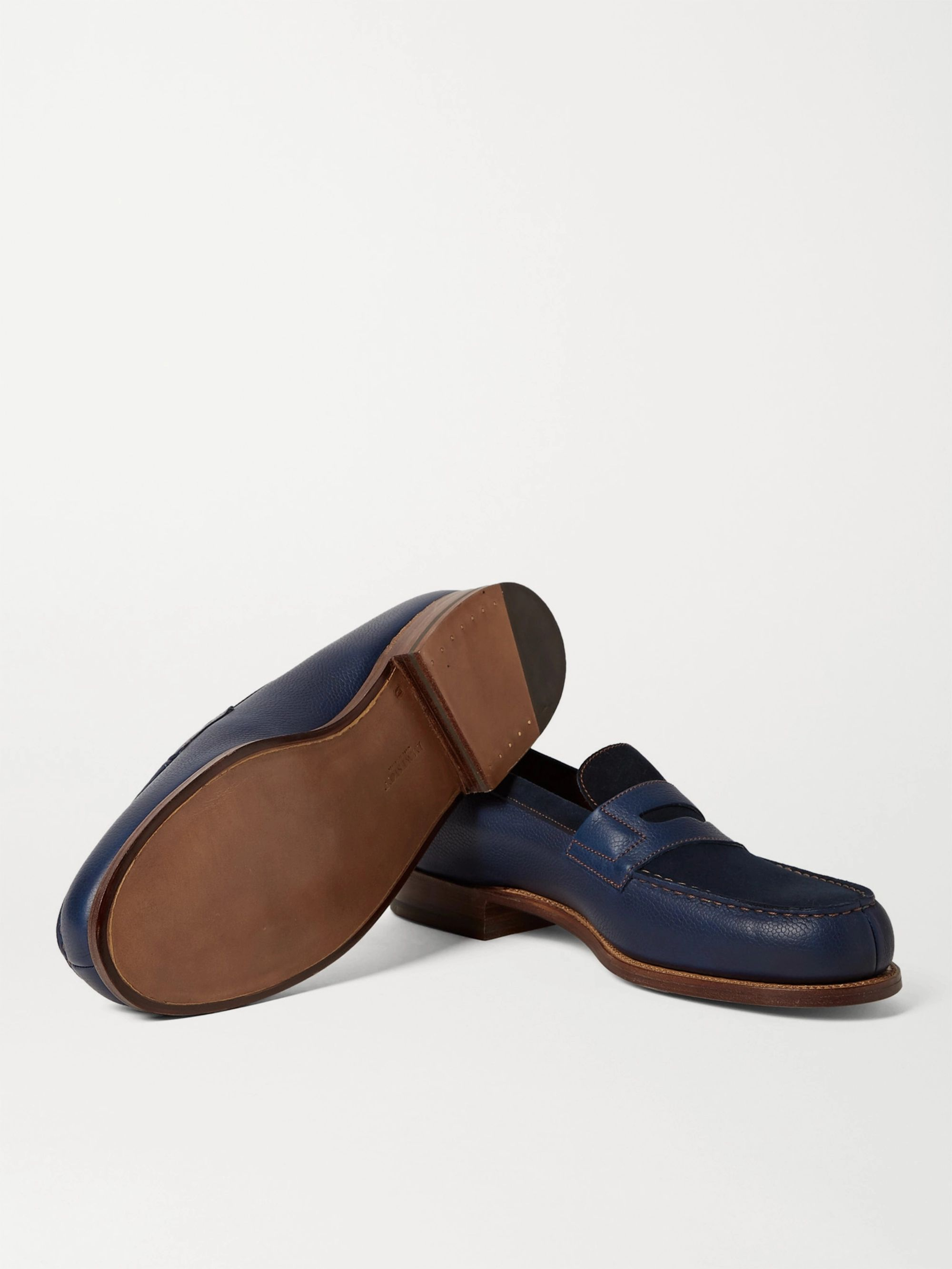 Storm blue 180 The Moccasin Full-Grain Leather and Suede ...