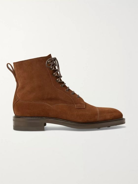 EDWARD GREEN Galway Cap-Toe Suede Boots