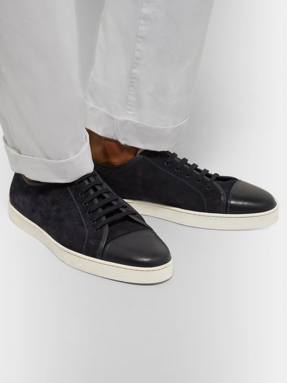 JOHN LOBB Levah Cap-Toe Suede and Leather Sneakers