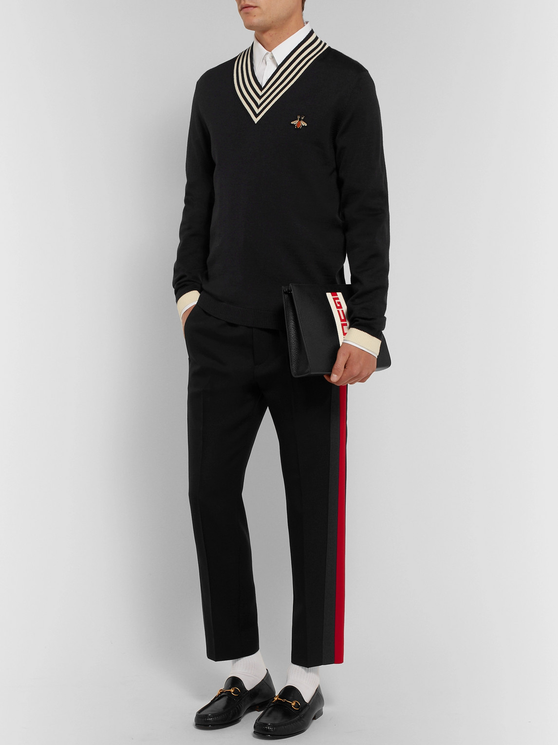 Gucci Pants TAPERED STRIPED WOOL AND MOHAIR-BLEND TWILL DRAWSTRING TROUSERS