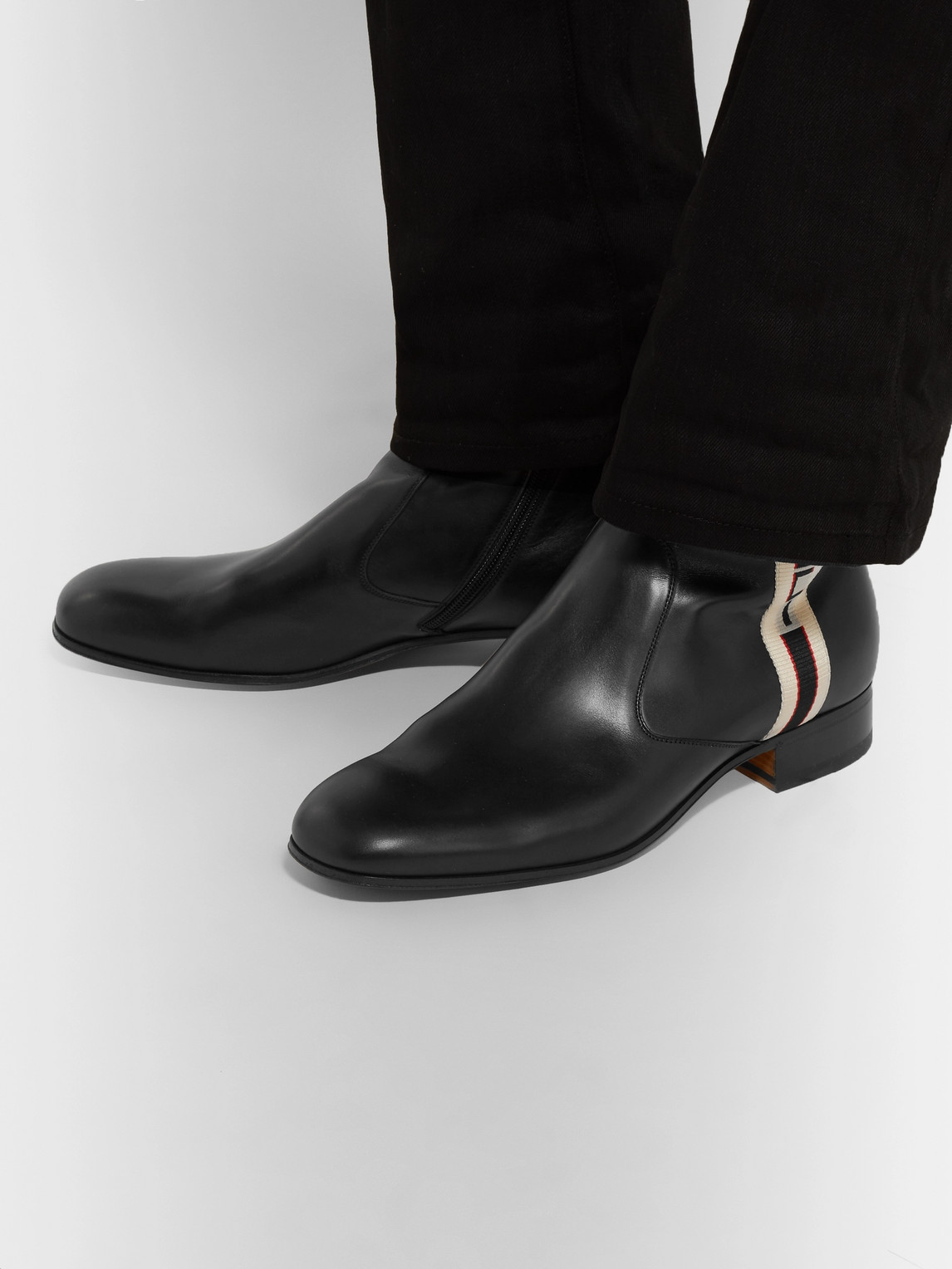 Gucci Boots BONNY WEBBING-TRIMMED LEATHER CHELSEA BOOTS