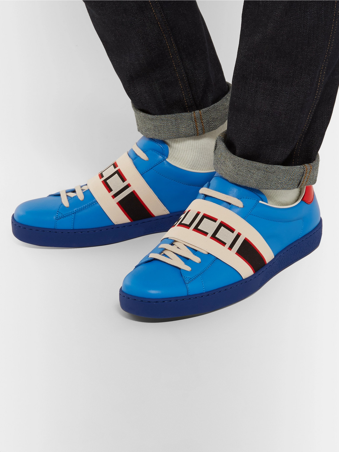Gucci Sneakers LOGO-PRINT LEATHER SNEAKERS