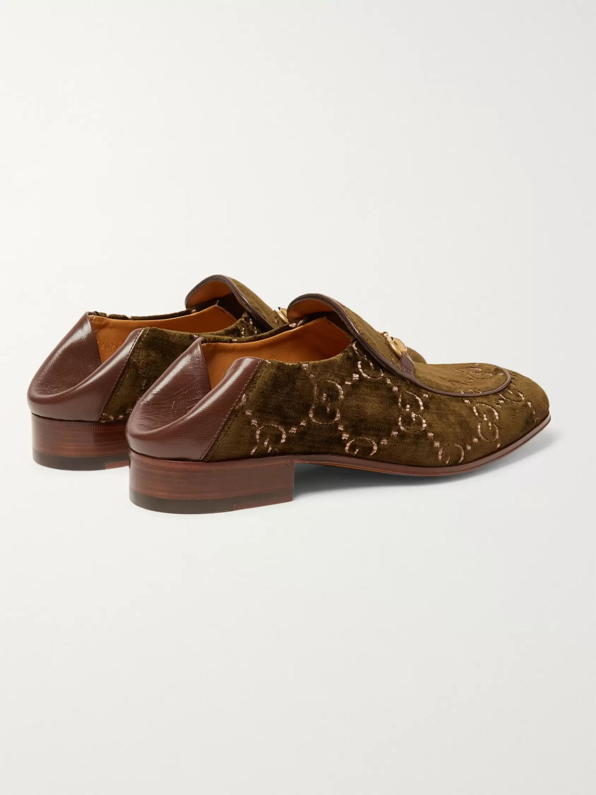 Gucci Horsebit Collapsible-Heel Leather-Trimmed Embroidered Velvet Loafers