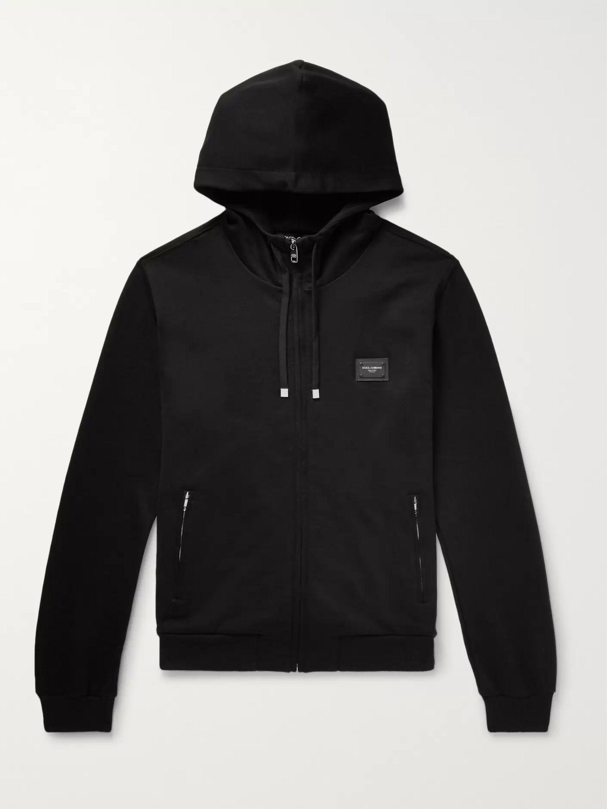 돌체 & 가바나 Dolce & Gabbana Black Cotton-Jersey Zip-Up Hoodie,Black