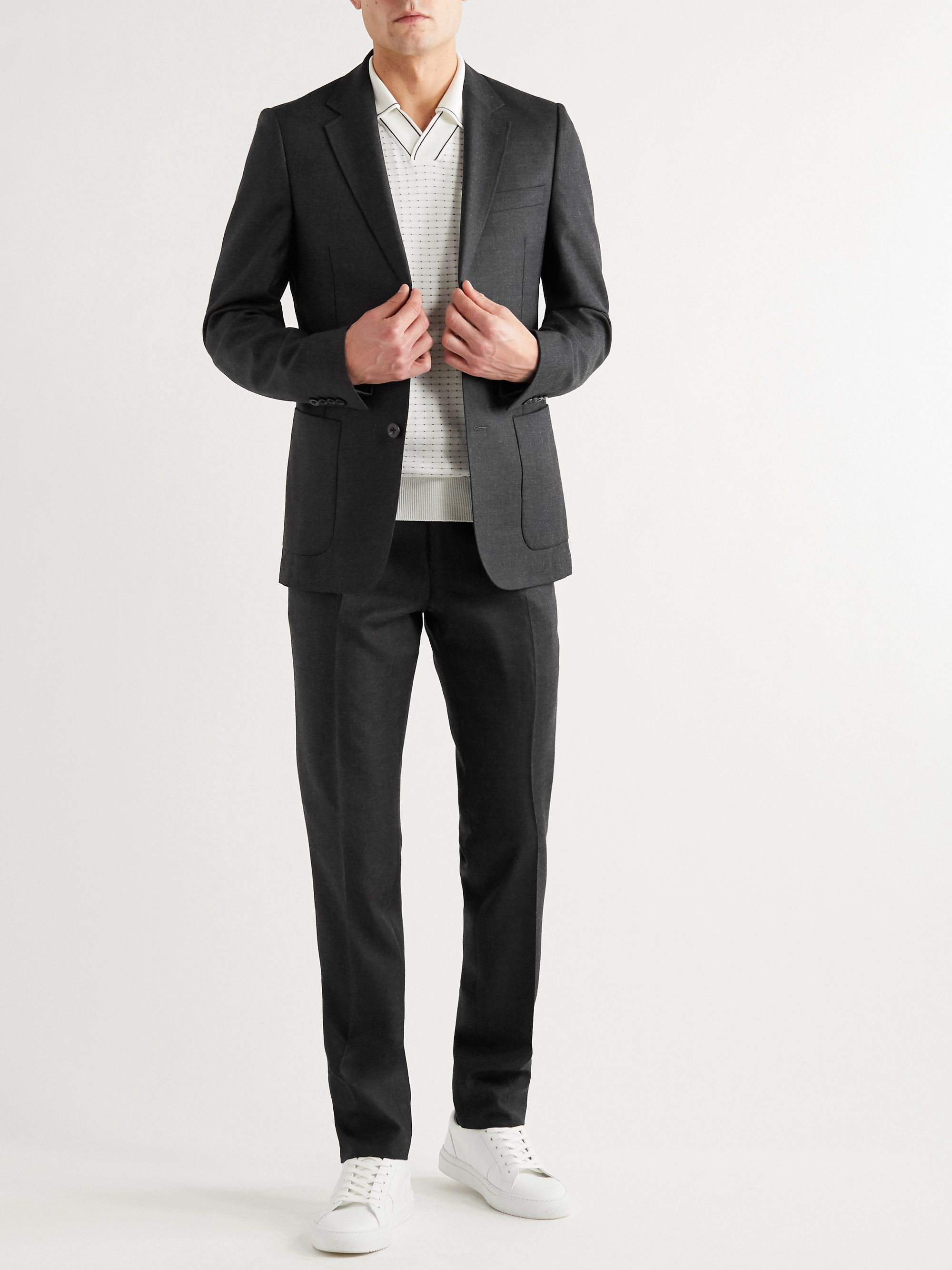 Mr P. Slim-Fit Black Worsted Wool Trousers
