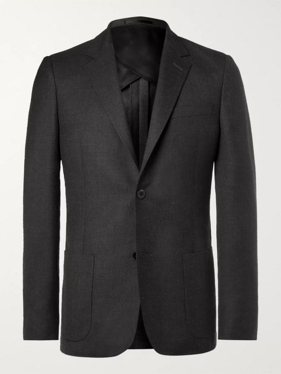 MR P. Grey Unstructured Worsted Wool Blazer