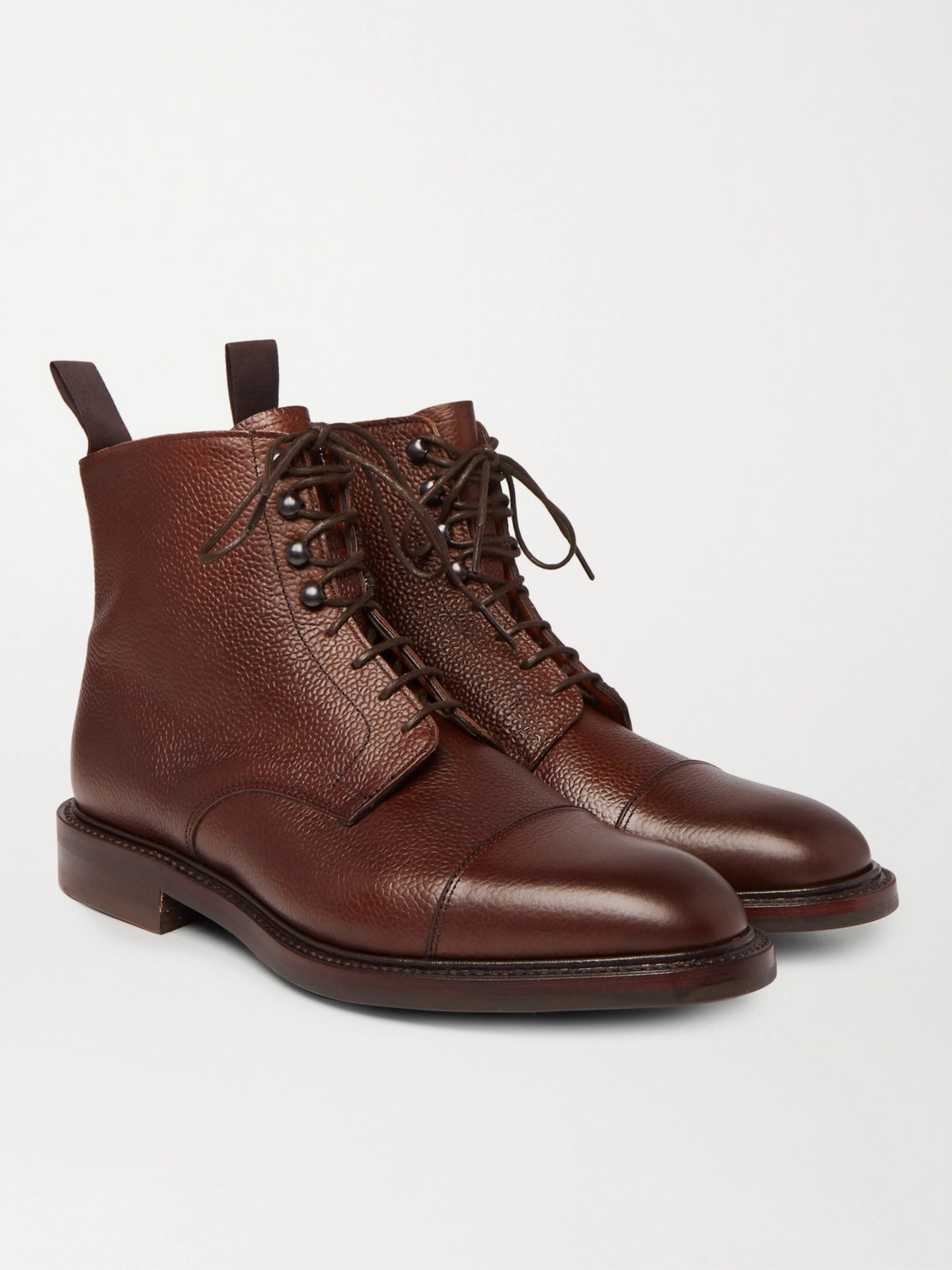 Kingsman George Cleverley Cap-toe Pebble-grain Leather Boots In Brown