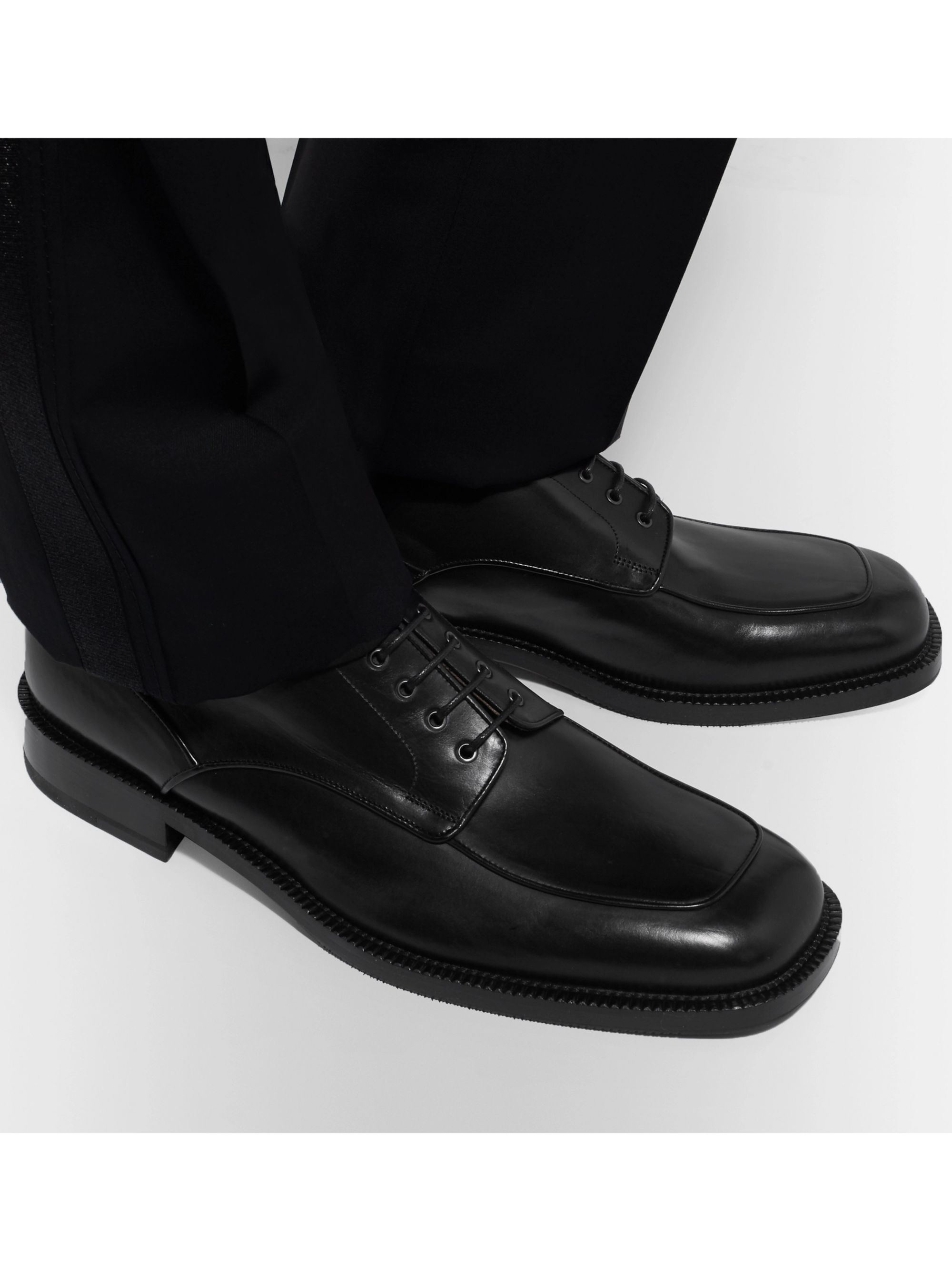 Black Polished Leather Derby Shoes | Dries Van Noten | MR PORTER