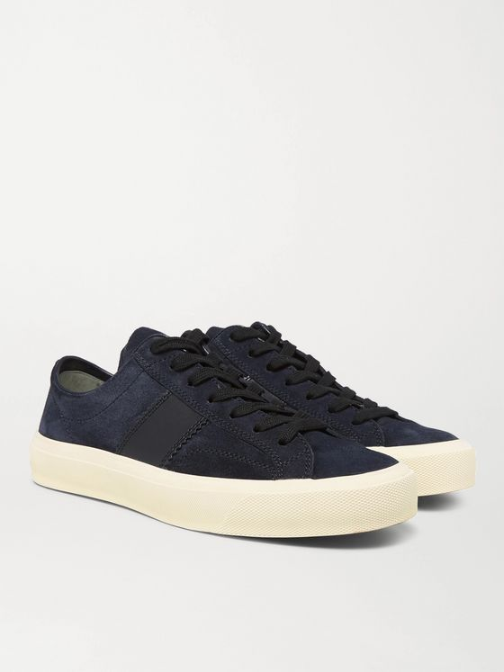 TOM FORD Leather-Trimmed Suede Sneakers