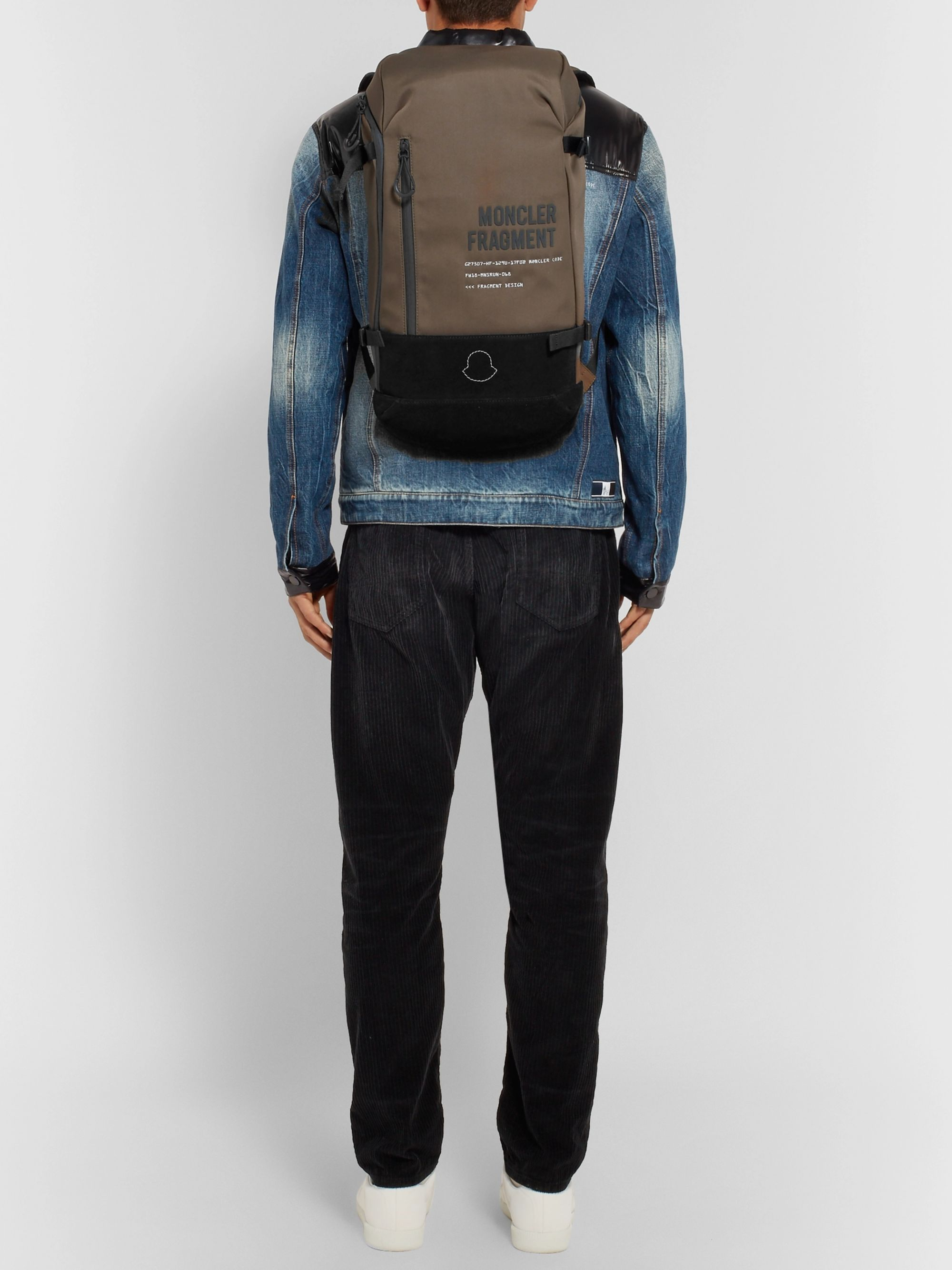 9e4f88c4d 7 Moncler Fragment Suede-Trimmed Printed Shell Backpack