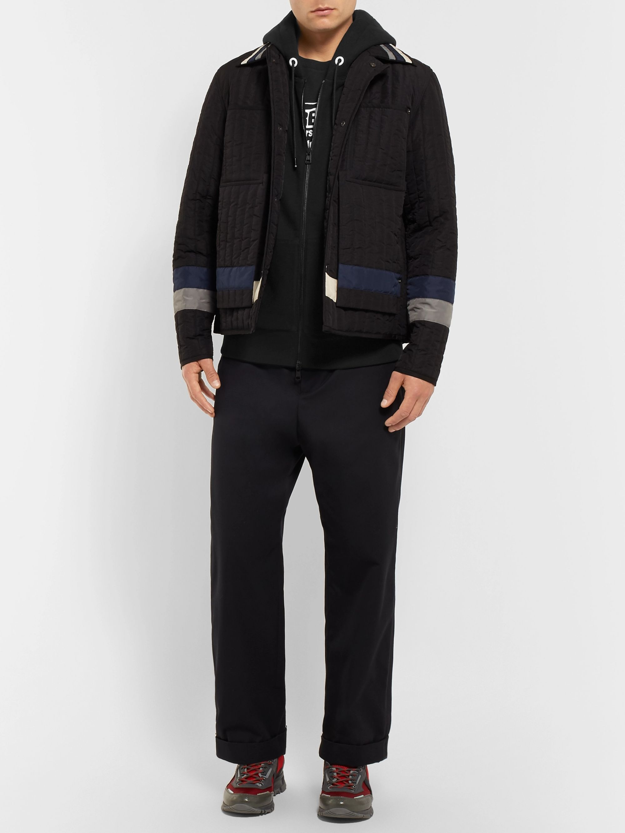 Moncler Genius 7 Moncler Fragment Shell-Panelled Loopback Cotton-Jersey Zip-Up Hoodie