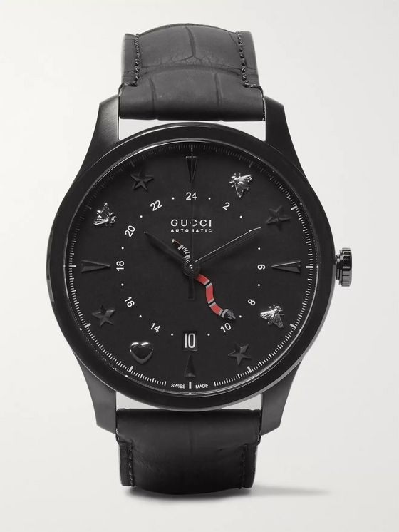 Gucci G-Timeless 40mm PVD and Alligator Watch