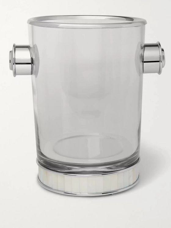 Lorenzi Milano Glass, Silver-Tone and Mother-of-Pearl Champagne Bucket